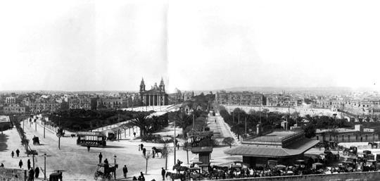 A panoramic view of Floriana showing trams which dealt a big blow to karozzini.