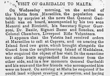 Part of the laudatory report of Garibaldi's Malta visit in The Malta Times and United Services Gazette of March 24, 1864. Courtesy of the National Library of Malta