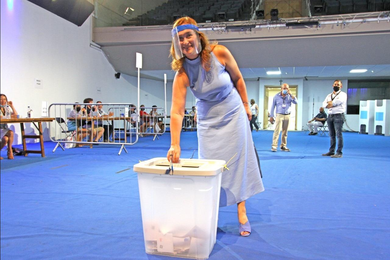 MP Therese Comodini Cachia voting on Saturday.