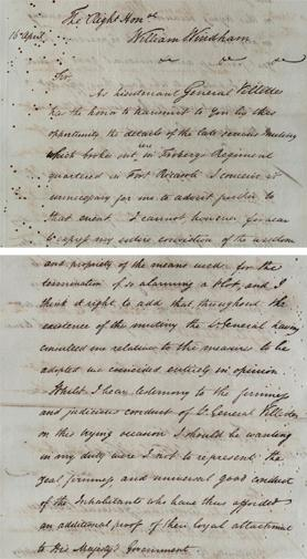Part of a letter dated April 16, 1807, sent to William Windham, Secretary of State for War and the Colonies, extolling the suppression of the Ricasoli mutiny by Lieutenant-General William Villettes.