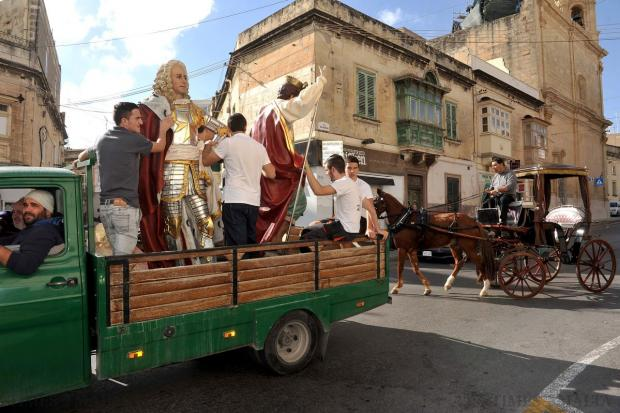 Statues are transported in Qormi on November 16. Photo: Chris Sant Fournier