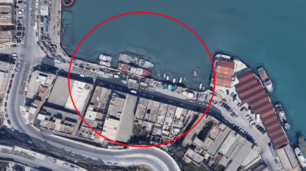 Security forces have sealed off a section of Marsa's Lighters Wharf in Marsa. Image: Google Maps