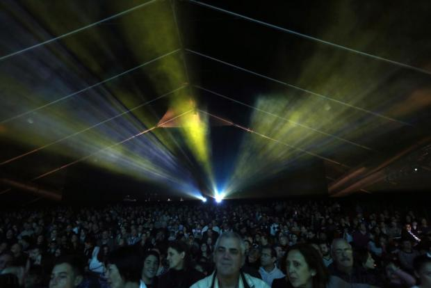 Lights and lasers shine over the audience at the dress rehearsal of the MADC pantomime Merry Poppins at the MFCC in Ta' Qali on December 19. Photo: Darrin Zammit Lupi