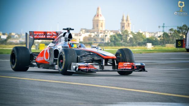 Lewis Hamilton drives in Malta.
