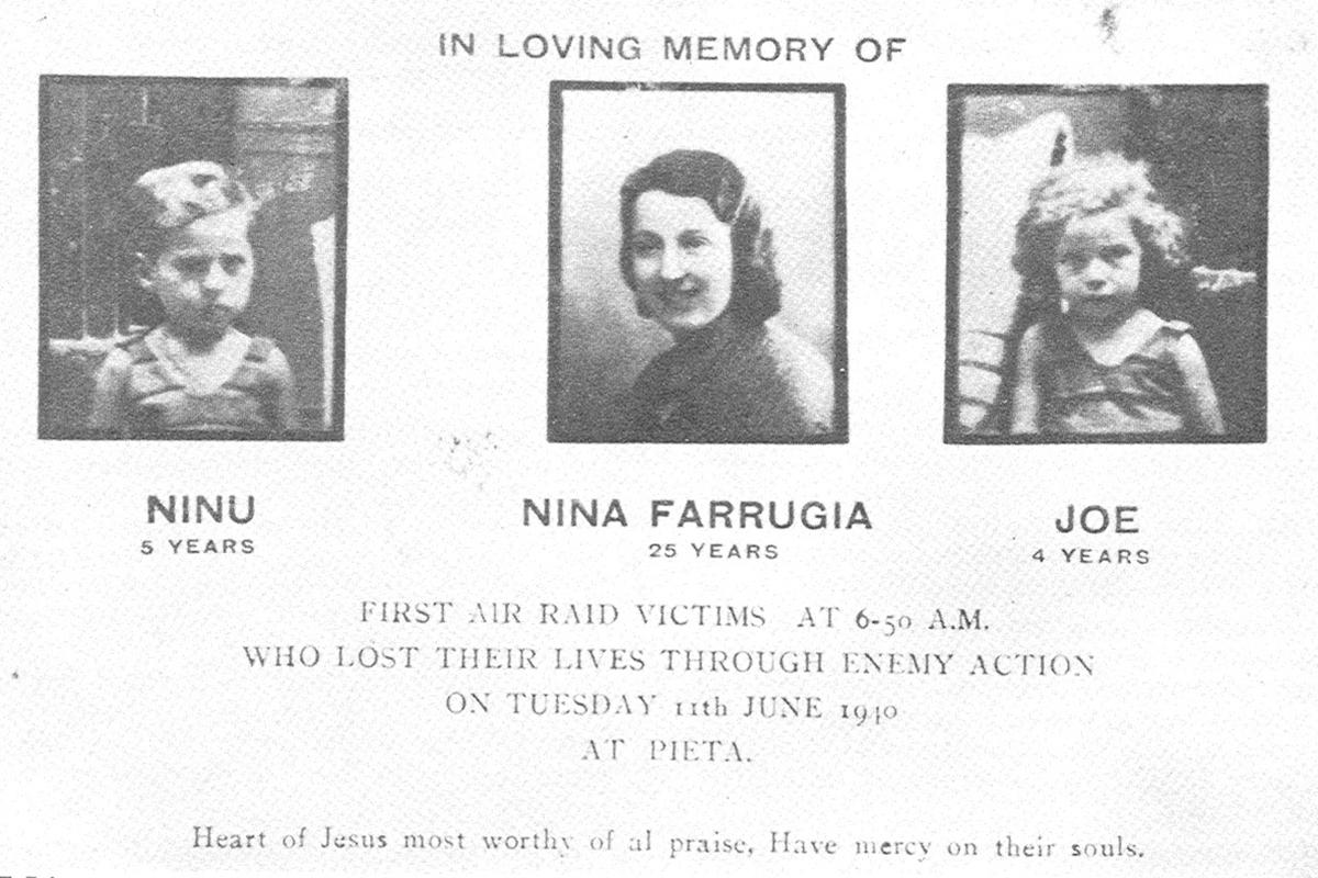 Three young victims of the first Italian attacks on Malta on June 11, 1940.
