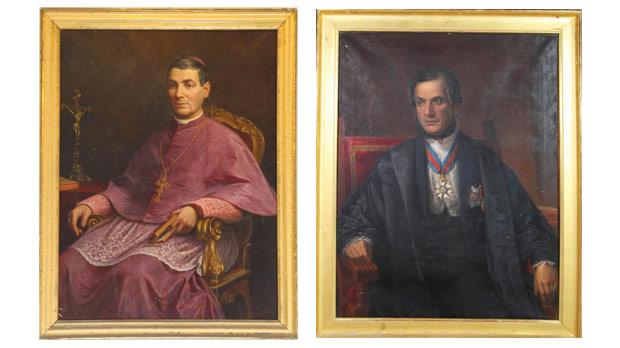 Archbishop Pietro Pace (1831-1914) by Ignatio Cortis. Courtesy of Cathedral Museum, Gozo. Right: Sir Adrian Dingli (1817-1900) by Ignatio Cortis. Courtesy of Cathedral Museum, Gozo