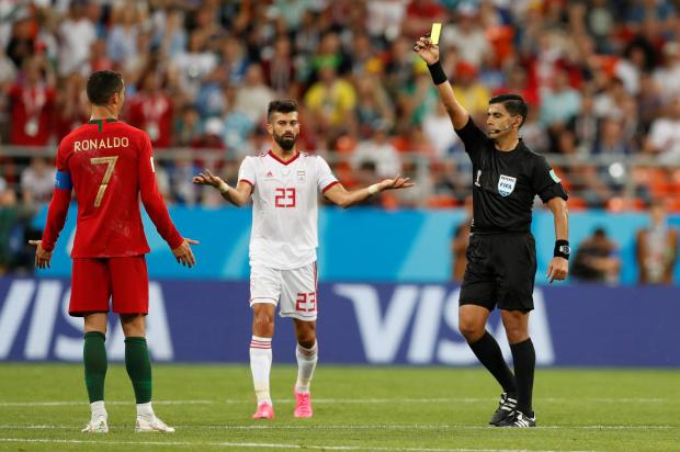 A yellow card for Ronaldo. Photo: Reuters