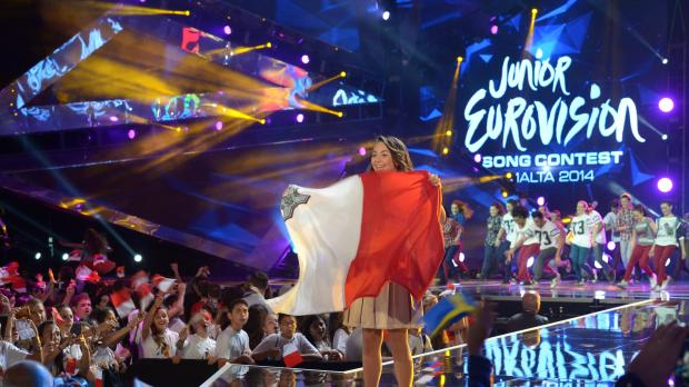 Federica parades the Maltese flag. Picture: Matthew Mirabelli