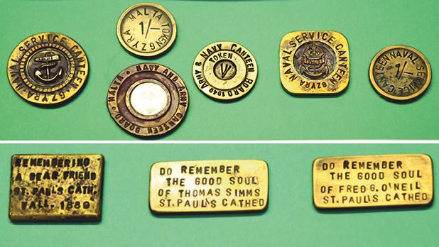 Top: These tokens were used in various canteens in Malta. Bottom: Three tokens made to commemorate the dead at St Paul's Co-Cathedral in Valletta.