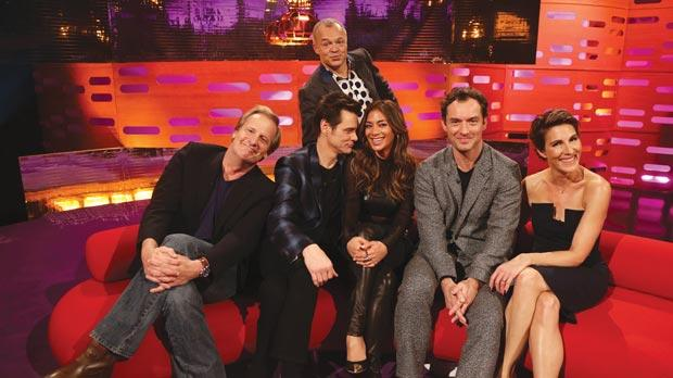 The host, Graham Norton (top) with guests (fromleft) Jeff Daniels, Jim Carrey, Nicole Scherzinger, Jude Law and Tamsin Greig during filming of the Graham Norton Show . Inset: Jim Carrey as The Grinch. Photo: PA