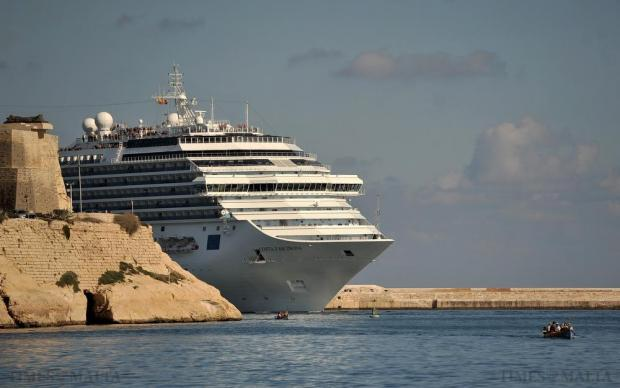 The Costa Fascinosa 'peeps' into Grand Harbour on November 18. Photo: Chris Sant Fournier
