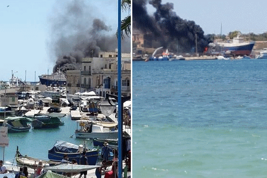 Two other images captured by readers show smoke rising from the scene.