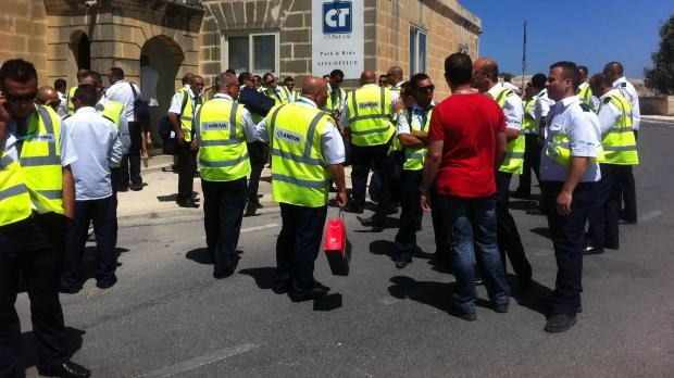 The bus drivers during their protest this afternoon.
