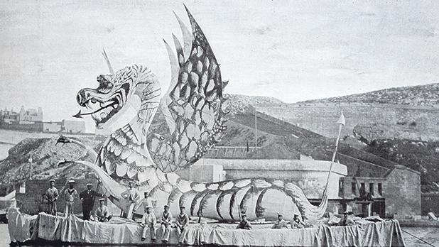 A water carnival float of a Welsh dragon from HMS Gladiator.