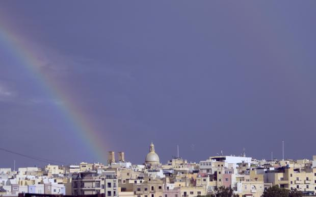 A rainbow is seen of the Hamrun St Gaetan Church on November 17. Photo: Mark Zammit Cordina