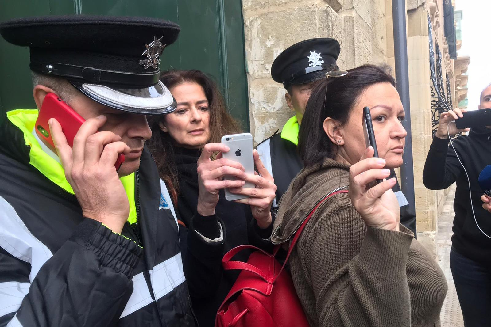 Daphne Caruana Galizia's sister, Corinne Vella (centre) attempted to join protesters inside Auberge de Castille. Photo: Mark Zammit Cordina