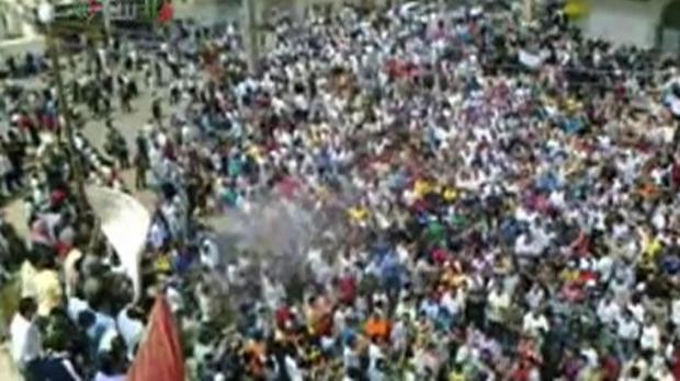 An image from amateur video released by Shams News Network and accessed via The Associated Press Television News.