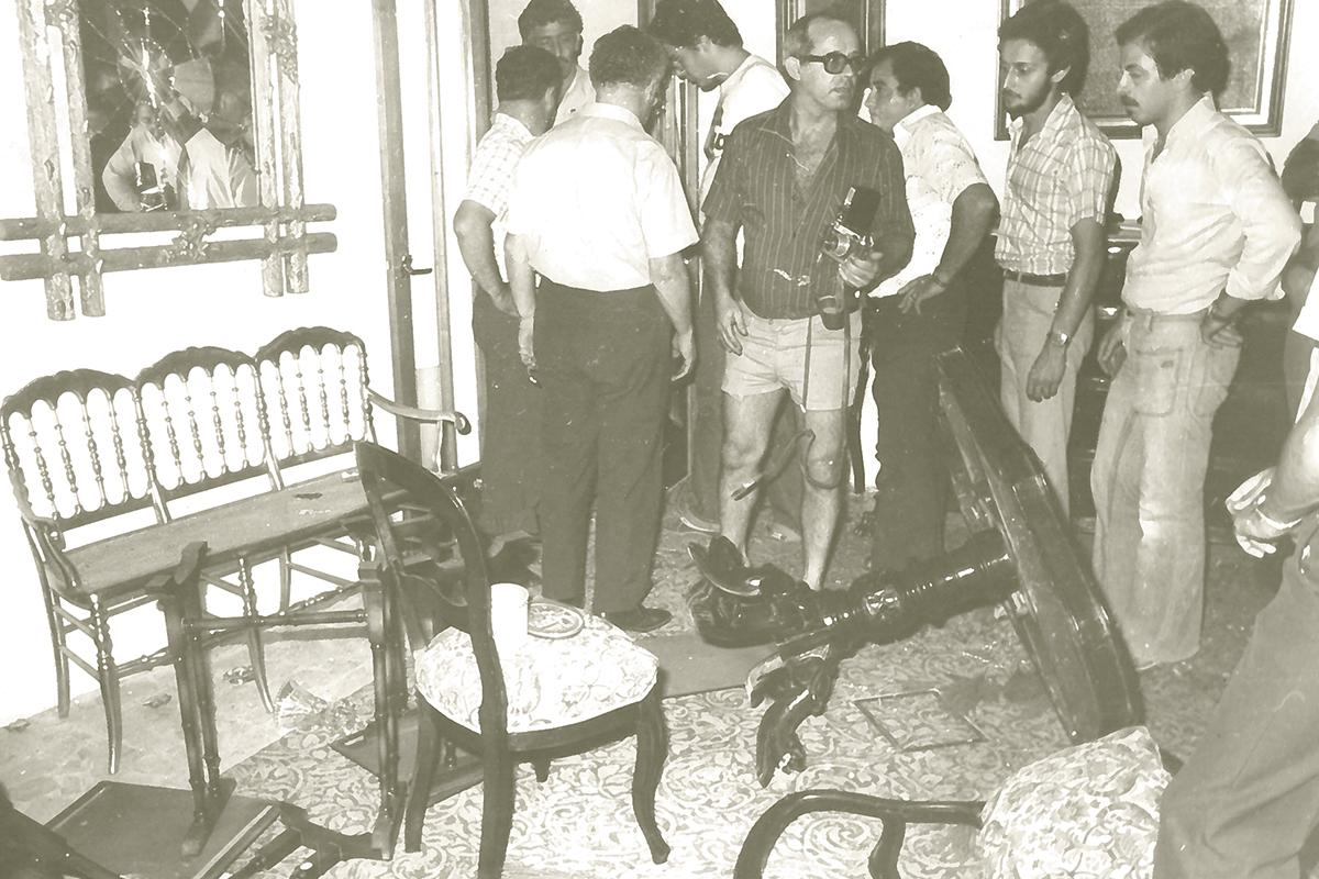 The home of then Nationalist Party leader Eddie Fenech Adami, second left, back to camera, was also ransacked on Black Monday.