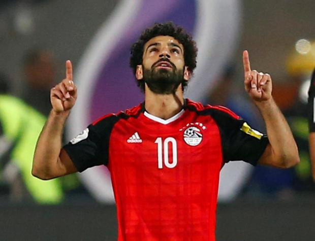 Egypt's Mohamed Salah celebrates scoring a goal.