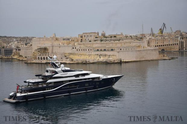 The Grand Harbour welcomed the 85-metre super yacht Solandge, May 15 seen here against the backdrop of Cottonera. Photo: Mark Zammit Cordina