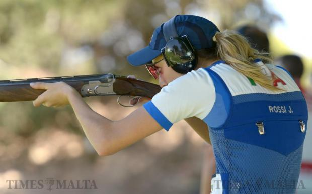Italy's Olympic Gold medalist Jessica Rossi takes aim during a practice session at the Bidnija shooting range on May 12. Photo: Matthew Mirabelli