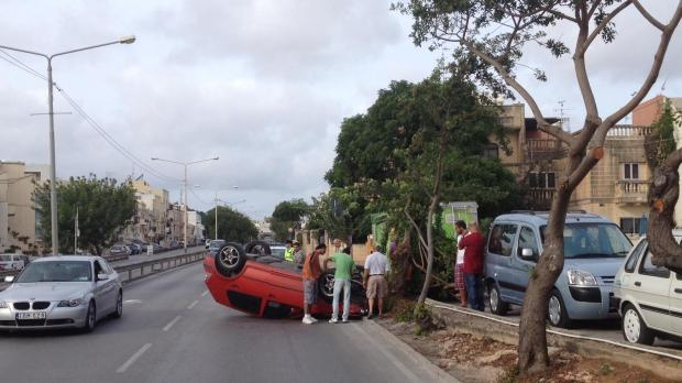 Car overturns at the Birkirkara Bypass.
