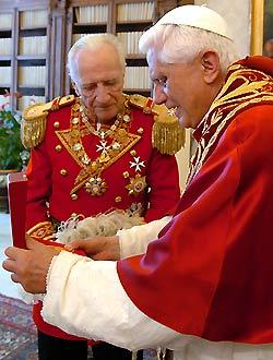 Fra Andrew Bertie, Grandmaster of the Knights of Malta, died on Thursday night, aged 78. In this picture he is seen with Pope Benedict XVI during a meeting at the Vatican on June 23, 2006.