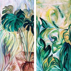 Camouflage, oils on canvas, 1980, private collection. Right: Windswept Foliage, oils on canvas, 1980, private collection