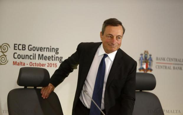 European Central Bank (ECB) president Mario Draghi arrives for a news conference after a meeting of the ECB Governing Council at the Westin Dragonara in St Julian's on October 22. Photo: Darrin Zammit Lupi