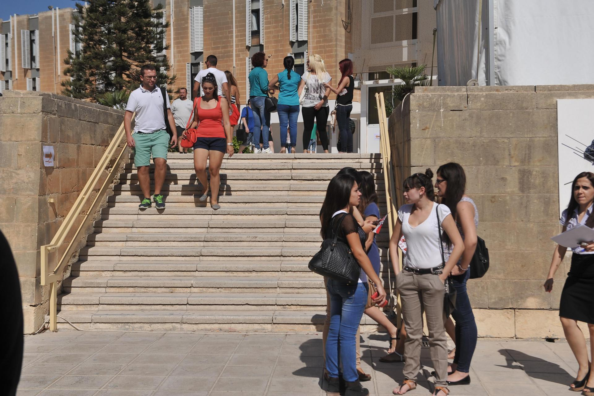 Busier days on the University of Malta's campus: Bernard Grech said working students should receive a full stipend. Photo: Matthew Mirabelli