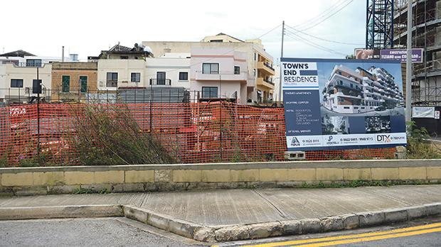 The site of the proposed eight-storey hotel in Mellieħa next to Valyou Supermarket. Photo: Matthew Mirabelli