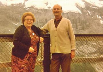 Henry and Inez Casolani enjoying a 360° view of the Swiss Alps in Piz Gloria on Schiltorn Mountain, Interlaken, Swizerland, in August 1982.