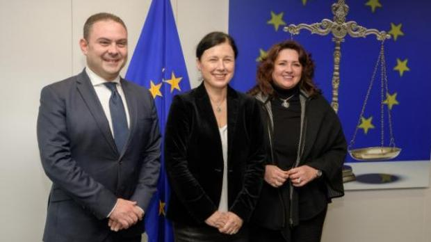 File photo - Ministers Owen Bonnici and Helena Dalli seen with Commissioner Vĕra Jourová.
