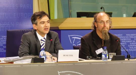 Simon Busuttil (left) and Jules Woodell at the European Parliament yesterday.