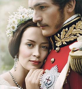 Poster of the 2009 movie The Young Victoria, dramatising the turbulent first years of Queen Victoria's rule, featuring Emily Blunt in the title role.