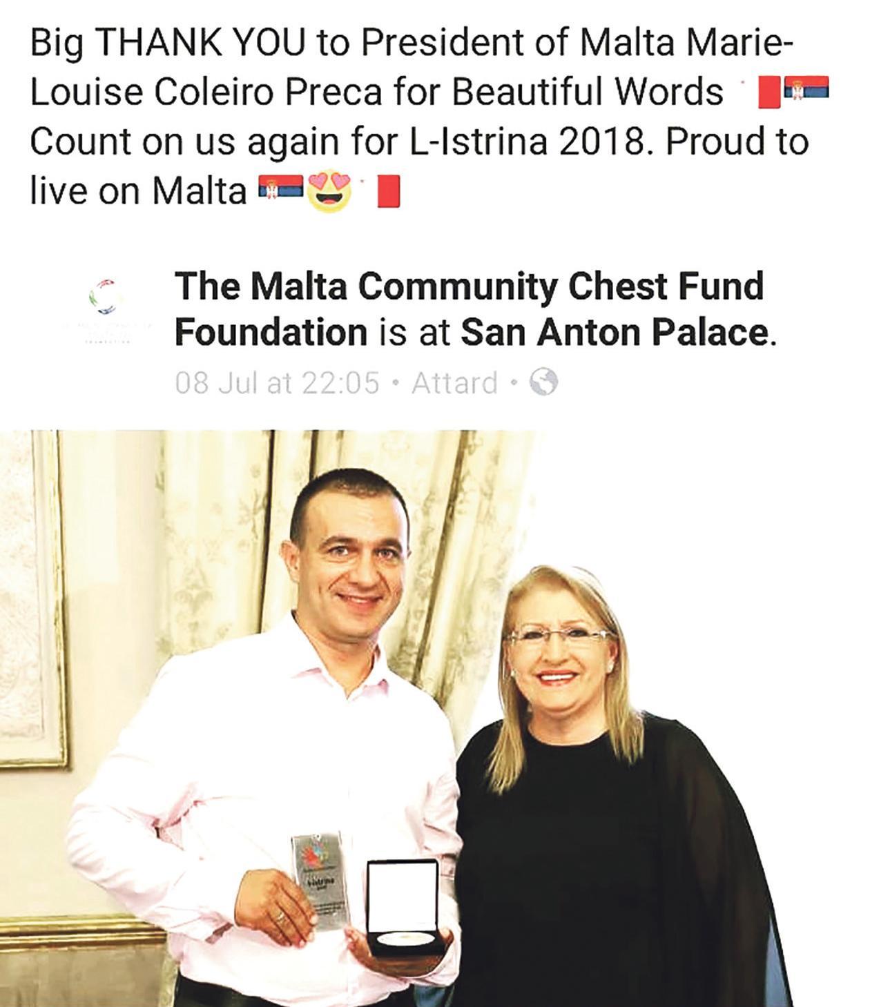 Serbian community figurehead Slobodan Rangelov with ex-President Marie-Louise Coleiro Preca donating €1,000 to l-istrina.