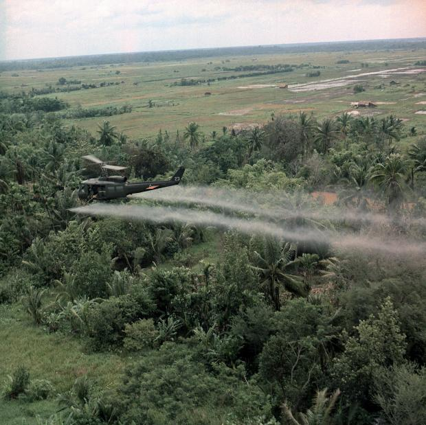 Vietnam War Defoliation Mission a UH- 1D helicopter from the 336th Aviation Company sprays a agent orange on a dense jungle area in the Mekong delta - Illustration/Shutterstock