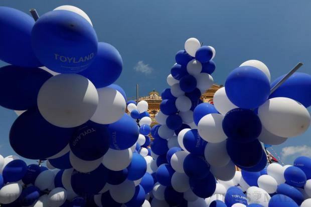 The Church of the Assumption of Our Lady, commonly known as the Rotunda of Mosta, is seen behind balloons during celebrations marking the village feast in Mosta on August 15. Photo: Darrin Zammit Lupi