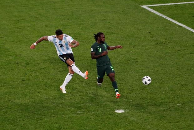 Argentina's Marcos Rojo scores their second goal.