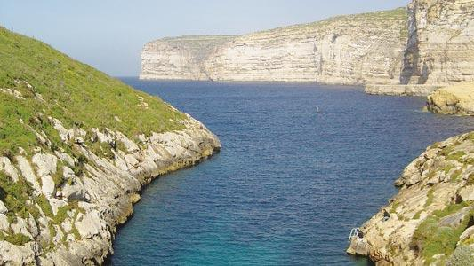 A section of Xlendi Bay.