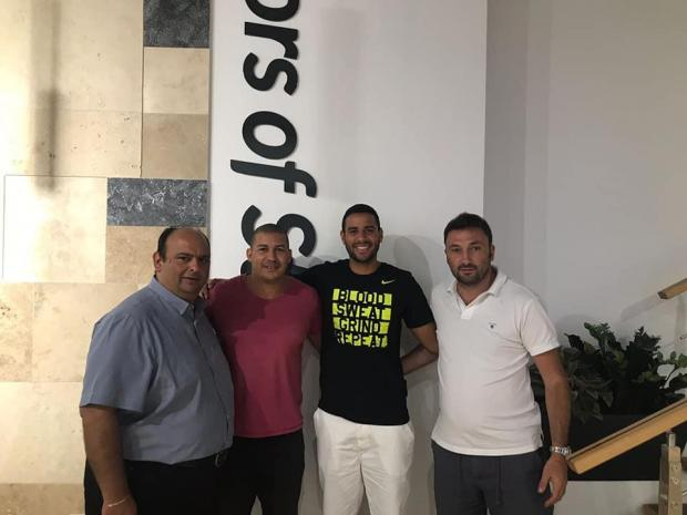 Fernando Barbosa (second from right) is the latest addition for the Maroons. Photo: Gżira United