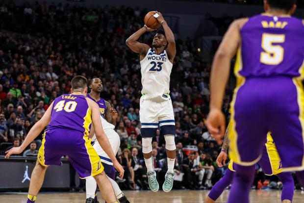 Minnesota Timberwolves guard Jimmy Butler (23) shoots during the fourth quarter against the Los Angeles Lakers at Target Center. Photo Credit: Brace Hemmelgarn-USA TODAY Sports