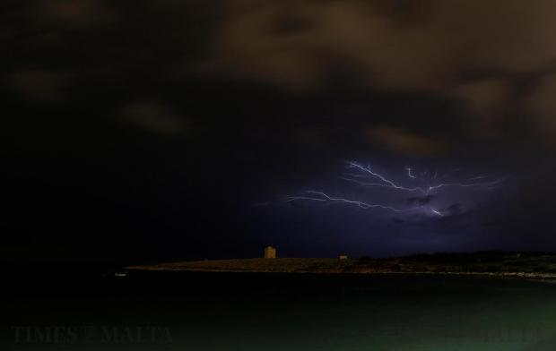 Lightning streaks over St Mark's Tower, a 17th century coastal fortification near Bahar-ic-Caghaq on November 19. Photo: Darrin Zammit Lupi