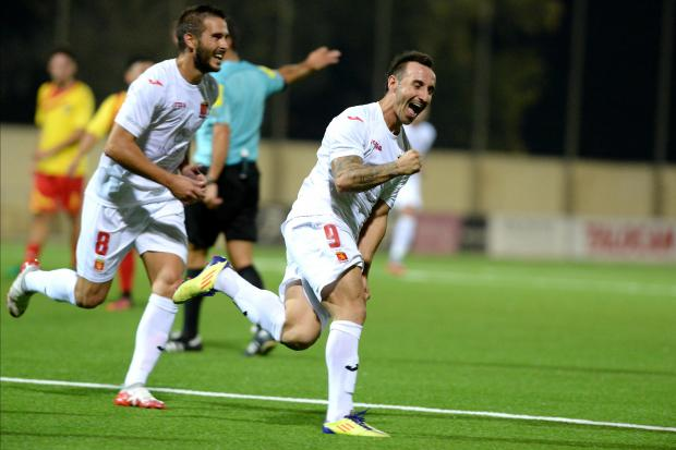 Valletta striker Michael Mifsud celebrates after scoring against Senglea during their BOV Premier League match at Centenary Stadium in Ta' Qali on August 25. Photo: Matthew Mirabelli