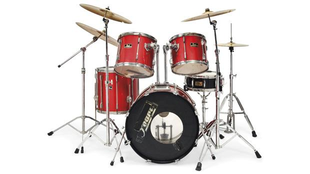 McCarroll's drum kit, which he played on Oasis' debut album Definitely Maybe, is expected to fetch around €18,000. Photo: Christie's/PA Wire