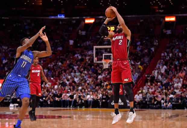 Miami Heat guard Wayne Ellington (2) attempts a three point shot against the Orlando Magic during the second half at American Airlines Arena. Photo: Jasen Vinlove-USA TODAY Sports