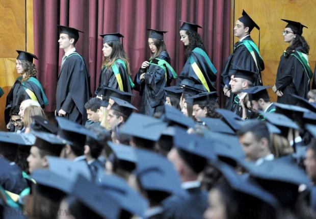 Graduates line up to receive their certificate at their graduations ceremony at the University of Malta on November 20. Photo: Chris Sant Fournier