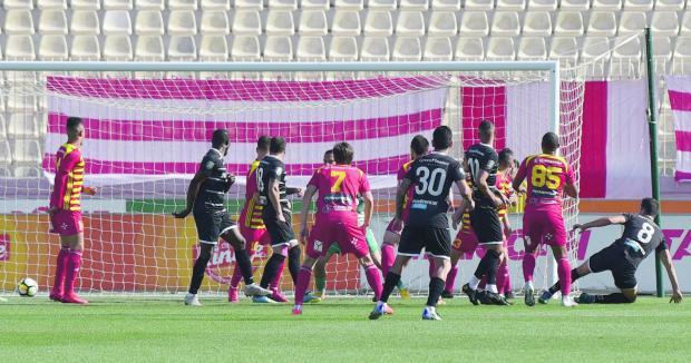 Nenad Sljivic (no.8) scores Balzan's opening goal against Birkirkara. Photo: Mark Zammit Cordina