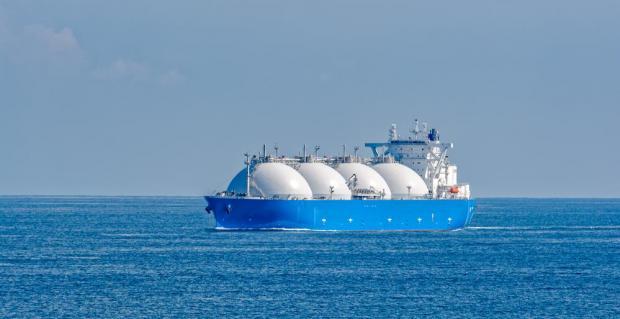 An LNG gas tanker.