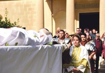 Roman aristocrat 'laid to rest' is historic re-enactment